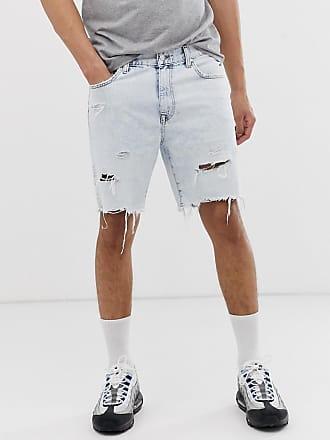 7e8e983f0d5c Bershka Pantaloncini di jeans slim blu lavaggio acido - Blu