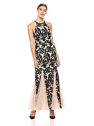Alex Evenings Womens Embroidered Dress with Illusion Neckline, Black/Nude Halter, 14