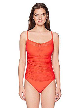 2f0e985ace32a Ellen Tracy Womens Scoop Neck One-Piece Swimsuit Bathingsuit, Sheer Poppy,  14