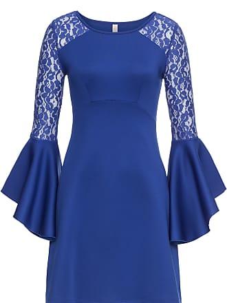 BODYFLIRT boutique Dam Klänning med volang och spets i blå lång ärm - BODYFLIRT  boutique 68f78f6afe33e