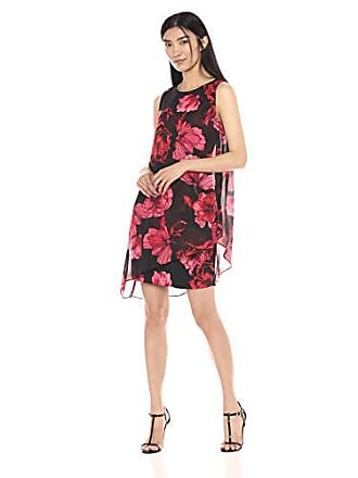 S.L. Fashions Womens Sleeveless Print Asymmetric Chiffon Overlay Dress, red/Black/Floral, 14