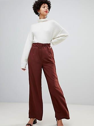 Vero Moda belted high waist wideleg pants - Brown