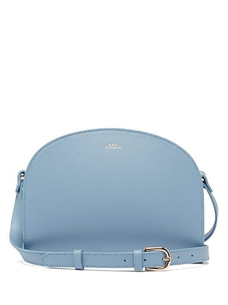 A.P.C. A.p.c. - Half Moon Leather Cross Body Bag - Womens - Light Blue