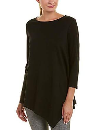 Joan Vass Womens 3/4 Sleeve Asymmetrical Tunic, Black, 1