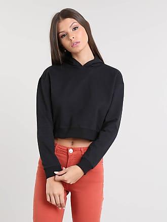 Basics Blusão Feminino Básico Cropped com Capuz em Moletom Preto