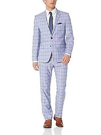 Nick Graham Mens Slim Fit Stetch Finished Bottom Suit, Blue Windowpane 50L