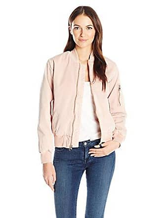Hudson Womens Gene Puffy Bomber Jacket, Sun Kissed Pink Destructed, Small