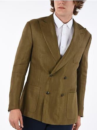 Corneliani Silk and Linen peak lapel GATE double-breasted blazer size 48