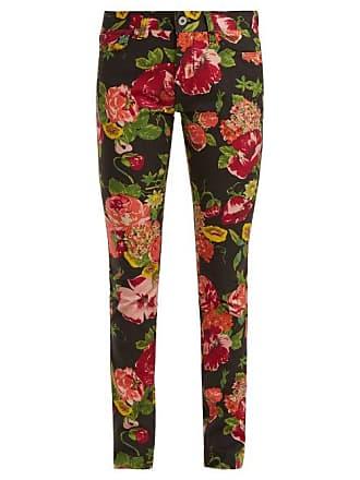 Junya Watanabe Floral Print Slim Fit Jeans - Womens - Black Multi