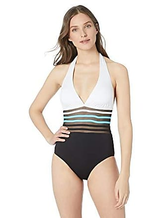 a04d3088c Delivery: free. Nautica Womens Classic Halter Mesh Inset One Piece Swimsuit,  Black/Blue, Large