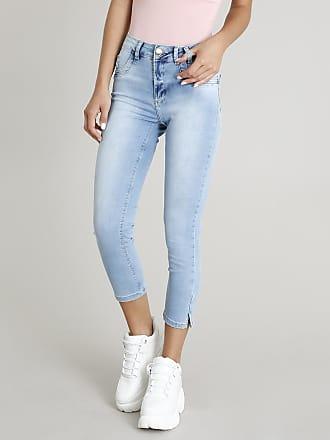 Sawary Calça Jeans Feminina Sawary Cropped Azul Claro