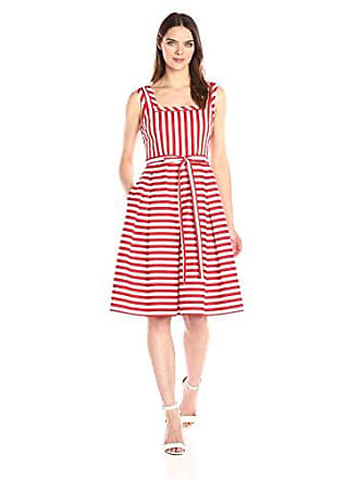 Anne Klein Womens Square Neck Striped Self Belted Fit & Flare, Tomato/Optic White, 4