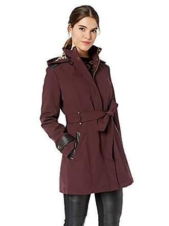 Via Spiga Womens Belted Soft Shell Hooded Jacket with Faux Leopard Lining, Port X-Large