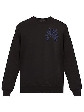 Alexander McQueen Alexander Mcqueen - Logo Embroidered Cotton Sweatshirt - Mens - Black