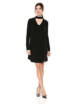 Michael Stars Womens Rylie Rayon Long Sleeve Mixed Media Choker Swing Dress, Black M