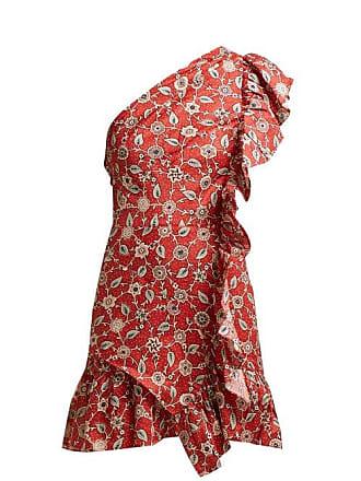 Isabel Marant Teller Floral Print Ruffled Linen Dress - Womens - Red Multi