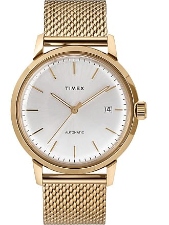 Timex Watch Mens Marlin Automatic 40MM Stainless Steel Mesh Band Gold-Tone/gold-Tone/silver-Tone Item Tw2T34600Zv