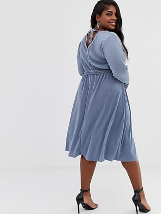 3723c38534f5d1 Asos Curve ASOS DESIGN Curve plisse tie belt midi dress - Blue
