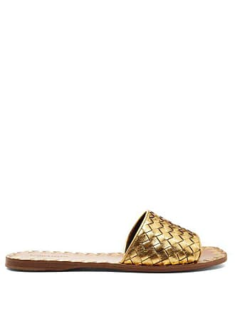 Bottega Veneta Intrecciato Leather Slides - Womens - Gold