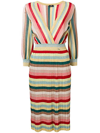 Elisabetta Franchi striped midi dress - Red