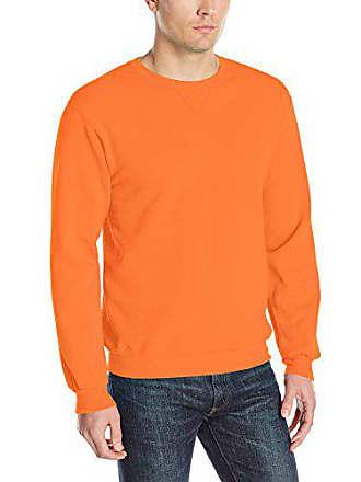 Fruit Of The Loom Mens Fleece Crew Sweatshirt, Orange Sherbet, Small