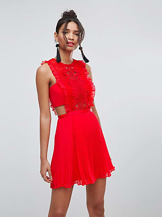 1a14142d6ba Asos ASOS - Robe chasuble plissée en dentelle coupe courte - Rouge