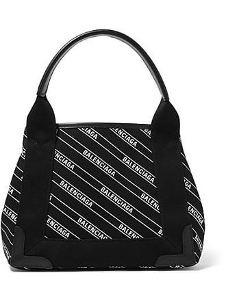 Balenciaga Cabas Xs Aj Leather-trimmed Printed Canvas Tote - Black