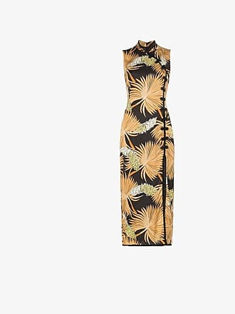 De La Vali Jean palm print silk dress