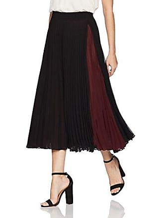Max Studio Womens Pleated Maxi Skirt with Color Blocked Inset, Black/Bordeaux, Small