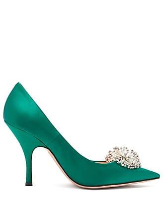 Rochas Crystal Embellished Satin Pumps - Womens - Dark Green