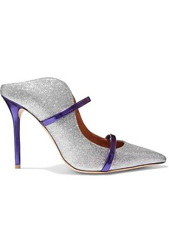 Malone Souliers Maureen 100 Metallic-trimmed Glittered Leather Mules - Silver