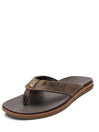 0ba7d2bad472 Olukai Mens Alania Embroidered Leather Thong Sandals