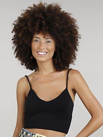Dress To Top Feminino Dress To Cropped em Tricô Alças Finas Decote V Preto
