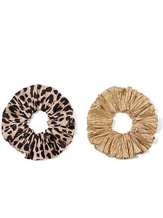 Loeffler Randall Hailey Set Of Two Leopard-print Satin And Lamé Hair Ties - Leopard print