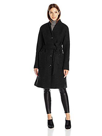 Ellen Tracy Outerwear Womens Boiled Wool Button Front Robe Coat, Black, 6