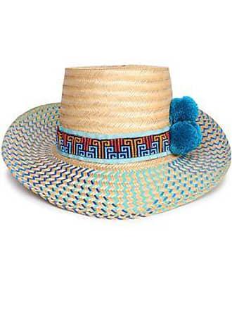 b993d30e83e4a4 Yosuzi Yosuzi Woman Bidika Bead And Pompom-embellished Woven Straw Sunhat Blue  Size S