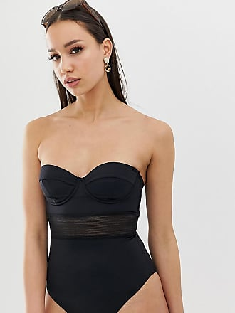 8dc4065f45dbb Asos Tall ASOS DESIGN Tall recycled mesh insert underwired cupped swimsuit  in black