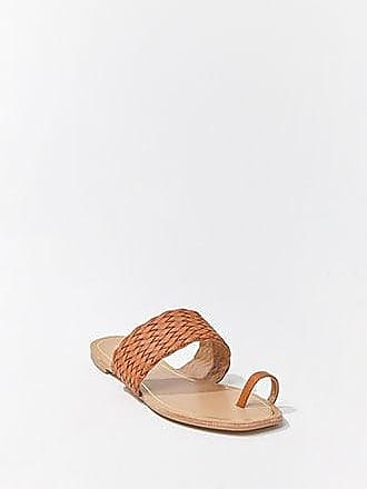 Forever 21 Forever 21 Faux Leather Basketweave Toe-Ring Sandals Tan