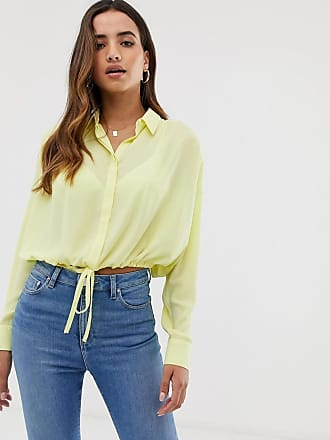 Asos soft long sleeve shirt with tie waist detail - Yellow