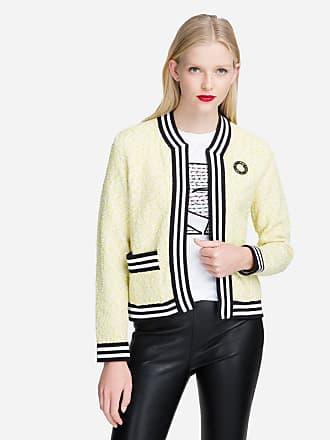 Karl Lagerfeld Bouclé Cardigan with Striped Trim