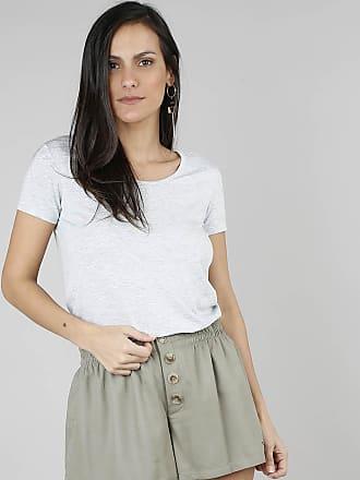 Basics Blusa Feminina Básica Decote Redondo Manga Curta Cinza Mescla Claro