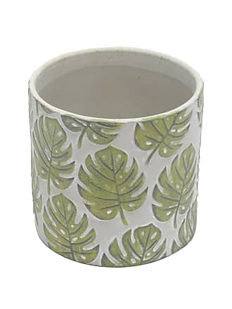 Urban Vaso Cerâmica Embossed Green Leaves Cinza E Verde Gde 135X135X125Cm Urban