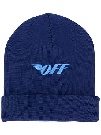 Off-white logo embroidered hat - Azul