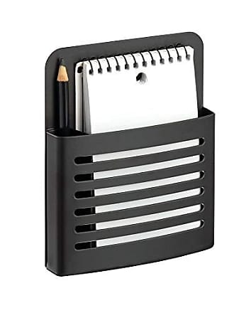 InterDesign Forma Magnetic Memo Center, Metal Pencil, Pen, and Notepad Holder Organizer for Kitchen, Filing Cabinets, Fridge, Locker, Home, Wall, or Office, 2 x 4.06 x 6.31, Matte Black
