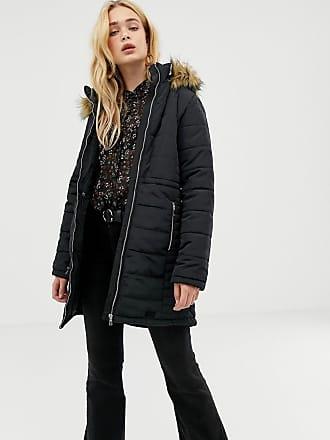 Vero Moda Faux Fur Trim Padded Coat - Black