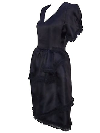 Carolina Herrera Lovely 1980s Tiered Black Silk Dress With Lace Details
