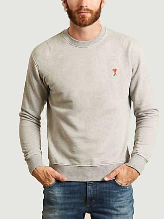 Ami Grau meliertes kleines Herz-Baumwoll-Sweatshirt - medium | cotton | gray