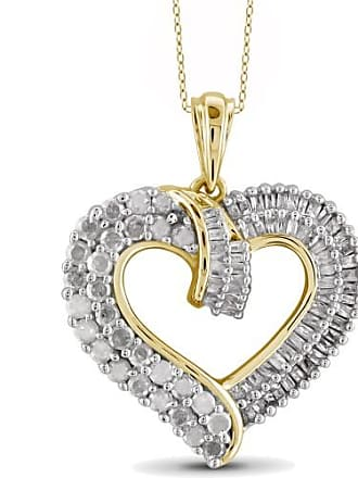 JewelersClub JewelersClub 1.00 Carat T.W. White Diamond Gold over Silver Heart Pendant