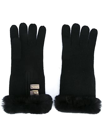 N.Peal fur trim gloves - Preto