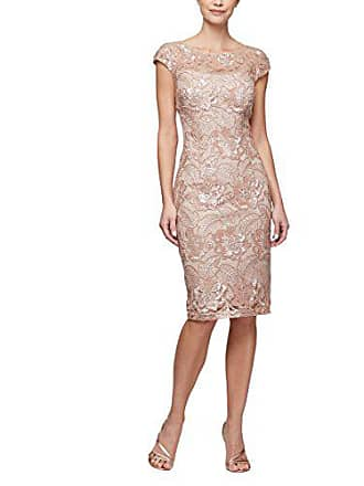 Alex Evenings Womens Shift Midi Lace Embroidered Dress (Petite and Regular), Rose Gold, 6P